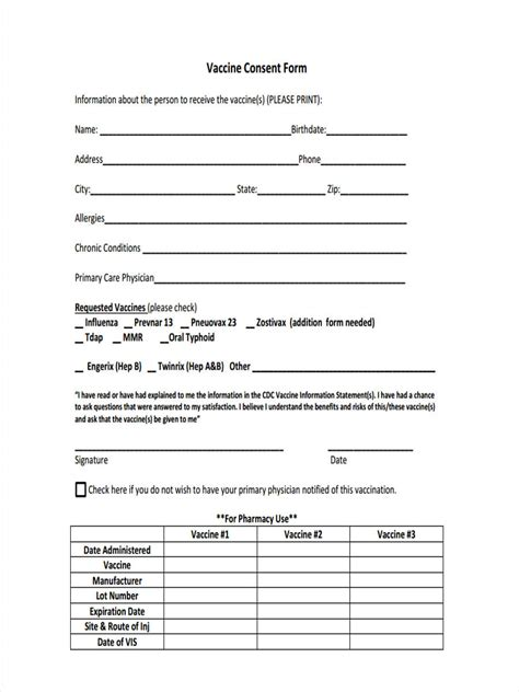 20758 vaccine consent form 8 vaccine consent forms free sle exle format