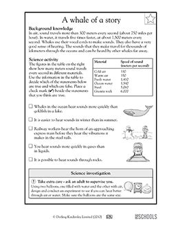 3rd grade 4th grade science worksheets a whale of a