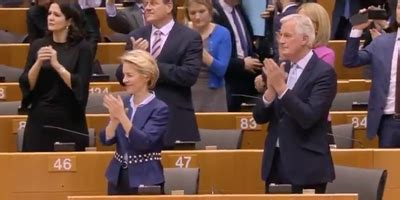 Michel barnier and lord frost: The European Parliament joined hands and sang Auld Lang Syne in an emotional Brexit farewell to ...