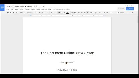 Print outline view google slides