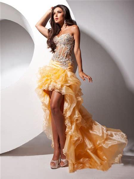 hot fashion sweetheart high  orange organza sheer
