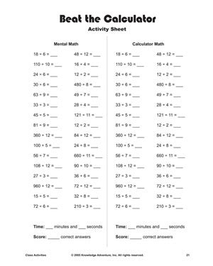 beat the calculator printable division problems and