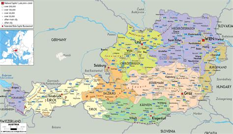 maps  austria detailed map  austria  english