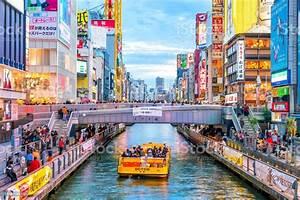 Dotonbori, Shopping, Street, In, Osaka, Japan, Stock, Photo