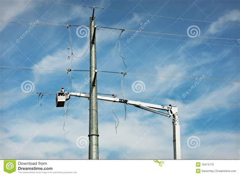 electric transmission  construction stock photo