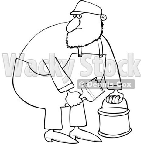 cartoon   outlined painter man holding  bucket  brush royalty  vector clipart