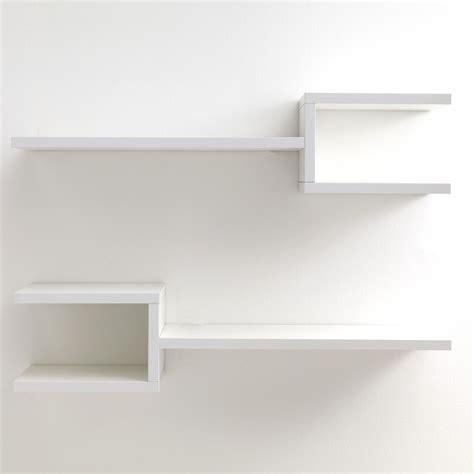 mensole da parete design coppia mensole da parete frequencyb in legno bianco 75 cm