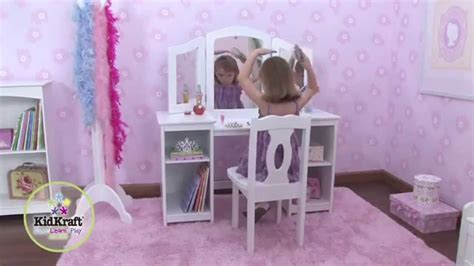 chaise pour coiffeuse coiffeuse en bois pour enfant avec chaise et miroir
