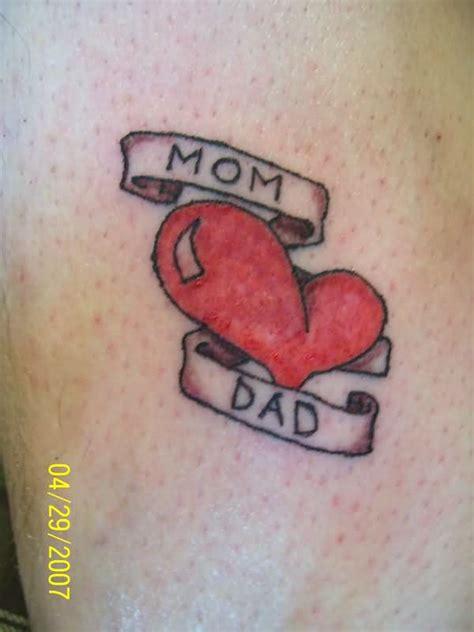 red heart  mom dad tattoo