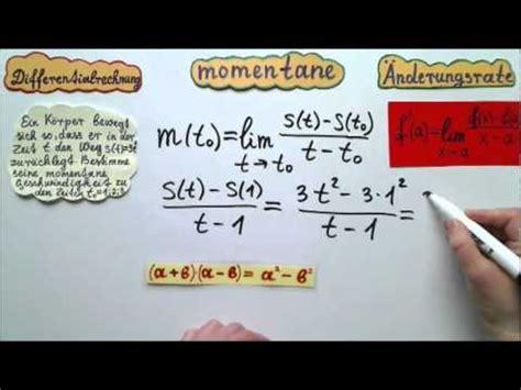 differentialrechnung momentane geschwindigkeit eines