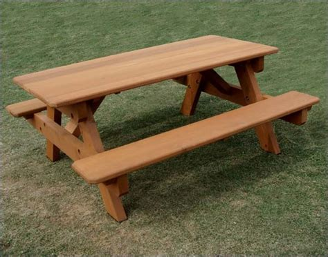 cedar heavy duty picnic table w attached benches