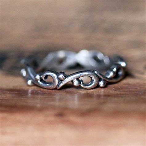ocean wave ring unique wedding bands  women silver rings