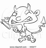 Devil Boy Cartoon Outline Clipart Pitchfork Coloring Royalty Sack Carrying Template Clip Toonaday Vector Sketch Leishman Ron sketch template