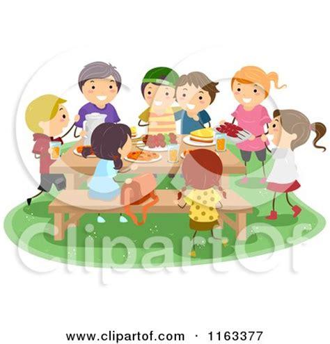 royalty  rf clipart illustration   girls   boy eating food   picnic  bnp