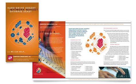 computer consulting brochure template design