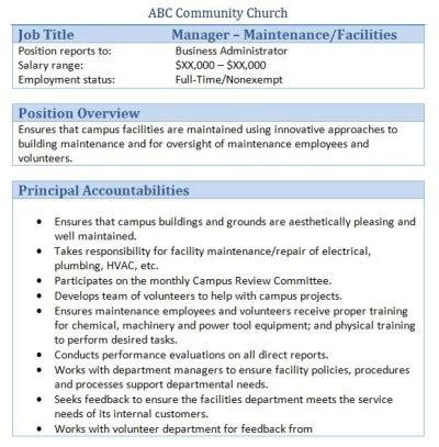 Facilities Coordinator Description by 45 Free Downloadable Sle Church Descriptions