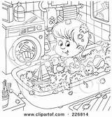 Coloring Outline Tub Toys Machine Clipart Playing Claw Royalty Toy Washing Illustration Rf Bannykh Alex Template Laundry Hygiene Illustrations Loader sketch template