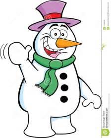 Cartoon Snowman Waving
