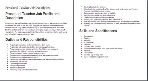 education job descriptions preshool teacher job profile