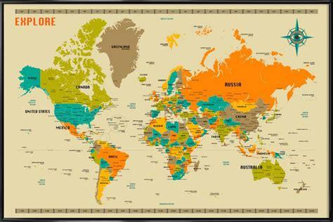 world map en affiche sous cadre standard juniqe