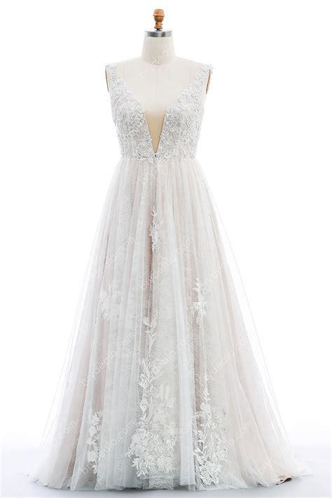 Plus Size Plunging-V Beaded Lace Wedding Dress - Brydealo