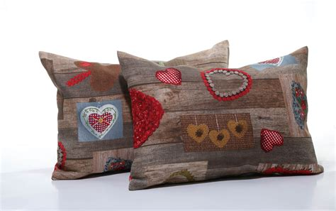 Handmade Pillows by Handmade Decorative Pillow Brown With Hearts 50x35 Cm