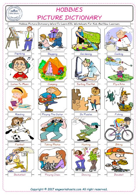 hobbies esl printable vocabulary worksheets