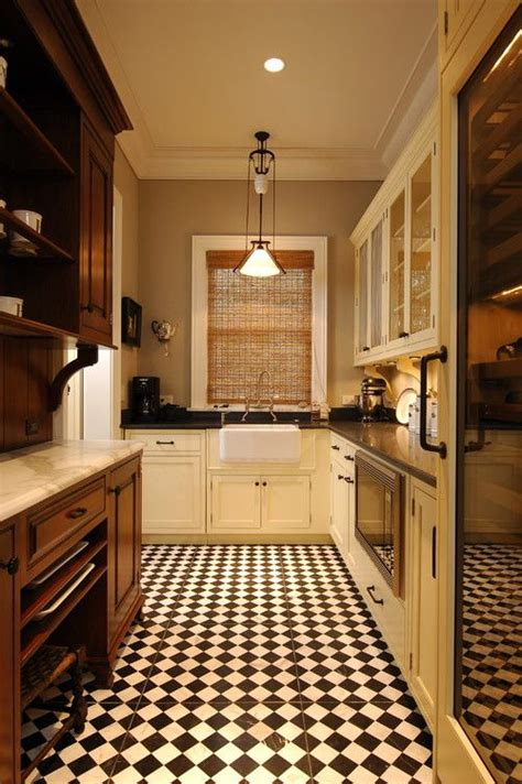 vintage kitchen flooring retro kitchens with black and white tile floor 3217