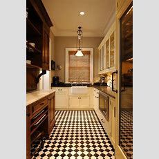 Retro Kitchens With Black And White Tile Floor