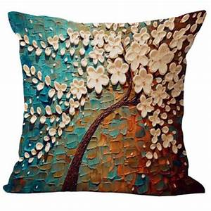 Floral cotton linen pillow case waist back throw cushion for Sofa cushion covers made to order