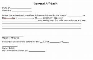 Free General Affidavit Form   PDF Template   Form Download