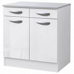Meuble Cuisine Leroy Merlin : meuble de cuisine bas 2 portes 2 tiroirs blanc brillant ~ Melissatoandfro.com Idées de Décoration