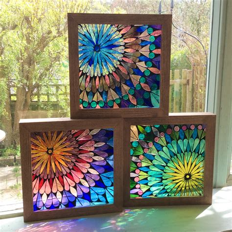 stained glass projects for outdoors three mandalas stained glass 21 x 21 cm mosaic inspirations pinterest mandalas third and 21st