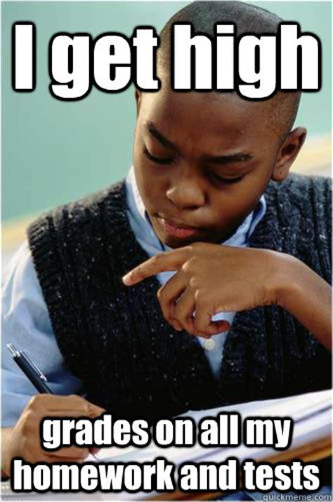 Awkward Black Kid Meme - i get high grades on all my homework and tests studious black kid quickmeme