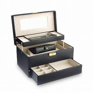 Coffret A Bijoux : coffret bijoux cuir imitation noir femme id es cadeaux maty ~ Teatrodelosmanantiales.com Idées de Décoration