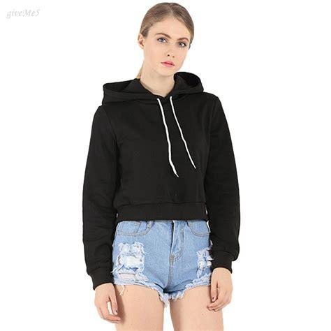 Fashion Women Long Sleeve Casual Crop Top Hooded Women Clothing Short Hoodies-in Hoodies ...