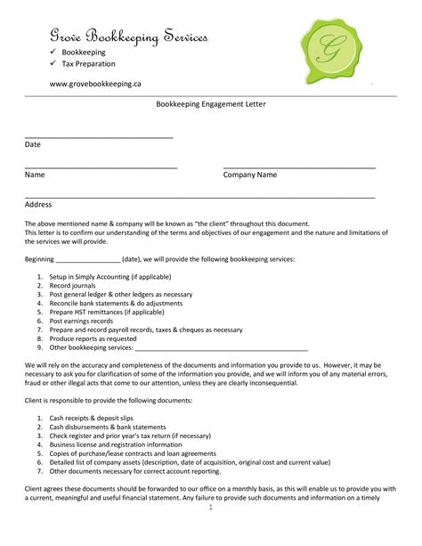bookkeeping engagement letter templates