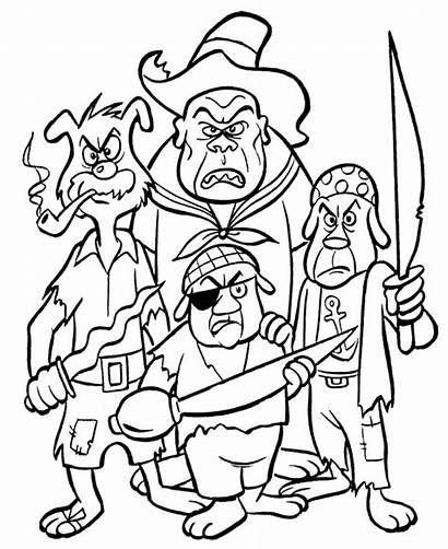 Pirate Coloring Pirates Pages Cartoon Ship Crew