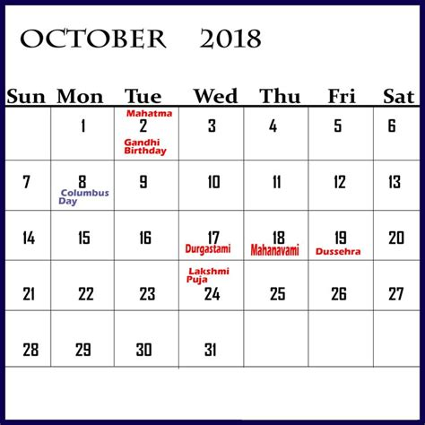 october  calendar  indian holidays holiday
