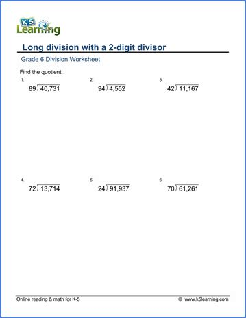 grade 6 math worksheet multiplication and division division with a 2 digit divisor k5