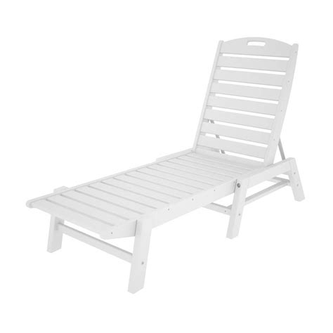 chaise en polypropylène shop polywood nautical white plastic stackable patio