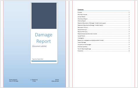 damage report template microsoft word templates
