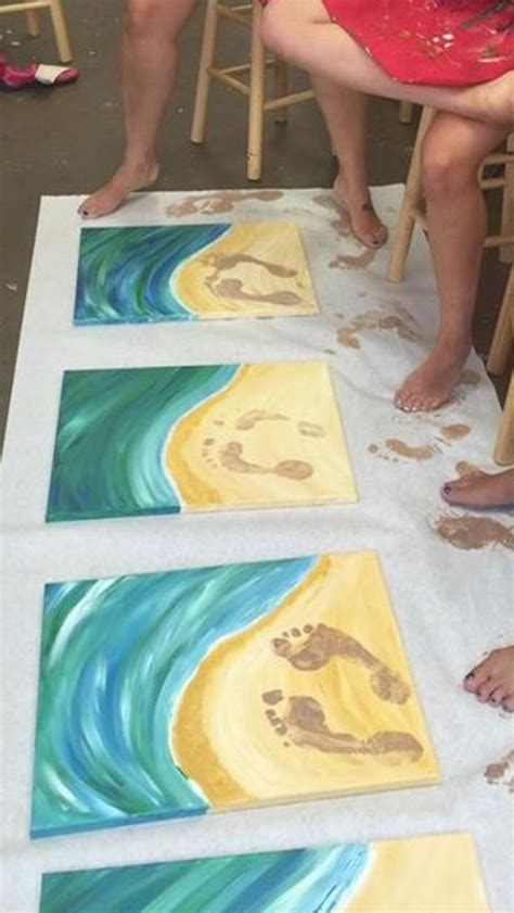 craft ideas on canvas painted footprints picture 3928