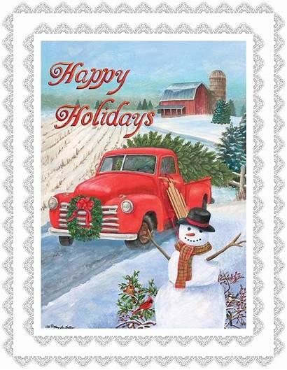 Truck Flag Pickup Happy Holidays Tree Stitch