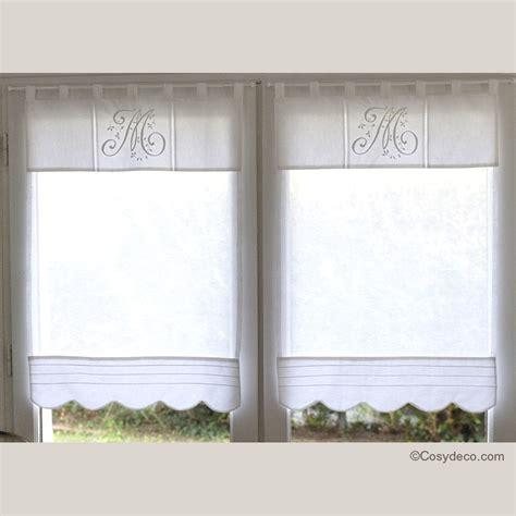 brise bise pour cuisine boutique rideau brise bise blanc monogramme 45x90 cm