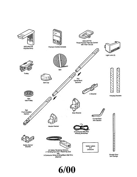Garage Door Parts by Chamberlain Garage Door Opener Parts Diagram Automotive