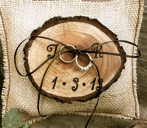 rustic wedding ring bearer pillow holder on luulla
