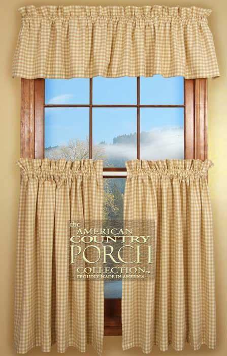 Cottage Wheat Check Curtain Valances