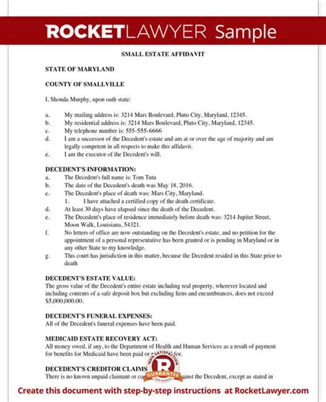 georgia small estate affidavit form sle probate letters to heirs poemsrom co