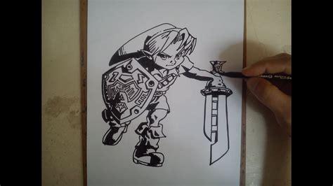 como dibujar  link legend  zelda youtube
